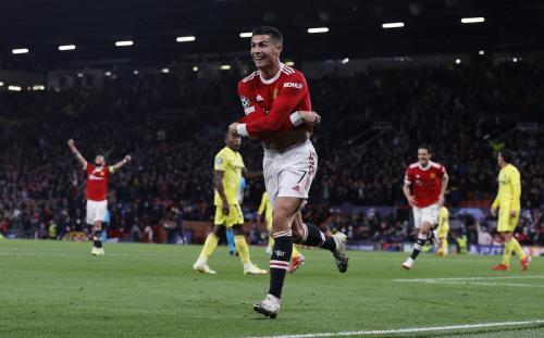 Cristiano Ronaldo di laga Manchester United vs Villarreal di Liga Champions 2021-2022. Foto: Reuters