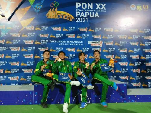 Tim beregu tenis Jawa Timur di PON XX Papua 2021. Foto: Laman resmi PON XX Papua 2021