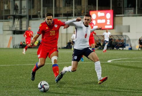 Phil Foden di laga Andorra vs Inggris. Reuters