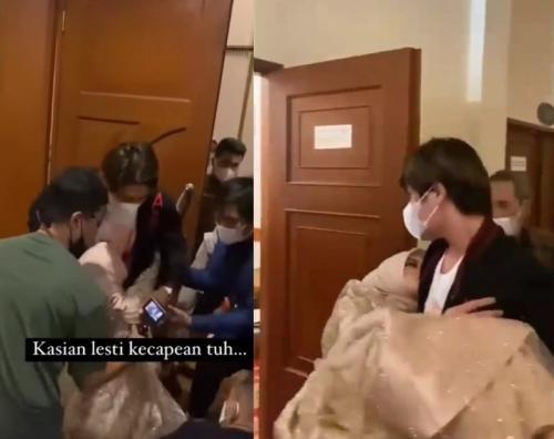 Lesti Kejora pingsan usai manggung di resepsi pernikahan, pada 9 Oktober 2021. (Foto: Instagram/@lambegosiip)