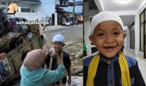 Viral anak pengumpul barang bekas selalu rapi dan wangi saat sholat berjamaah di masjid. (Foto: Instagram @sahabatsurga)