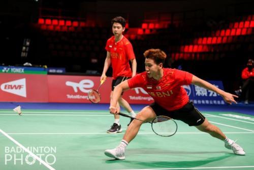 Marcus Fernaldi Gideon/Kevin Sanjaya Sukamuljo. Foto: Badminton Photo