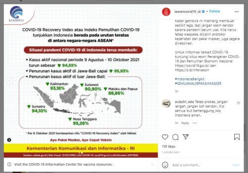 Penanganan covid di Indonesia nomor 1 di asean (Foto : Kominfo)
