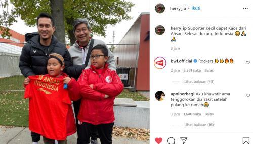 Dua anak kecil yang heboh dukung Indonesia di Piala Thomas 2020 dapat kado dari Ahsan