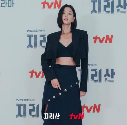 Jun Ji Hyun hadir di konferensi pers virtual Jirisan, pada 13 Oktober 2021. (Foto: Instagram/@tvn_drama)