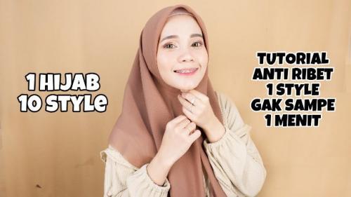 Tutorial gaya hijab segi empat pollycotton. (Foto: YouTube Marlia Bella Utami)
